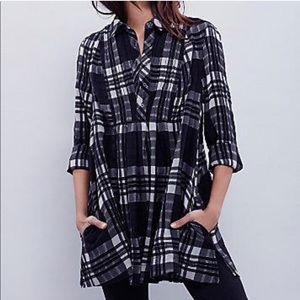 Free People Plaid Baby Blues Tunic Top